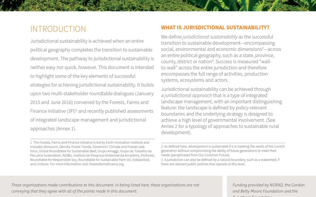 Jurisdictional Sustainability: A Primer for Practitioners
