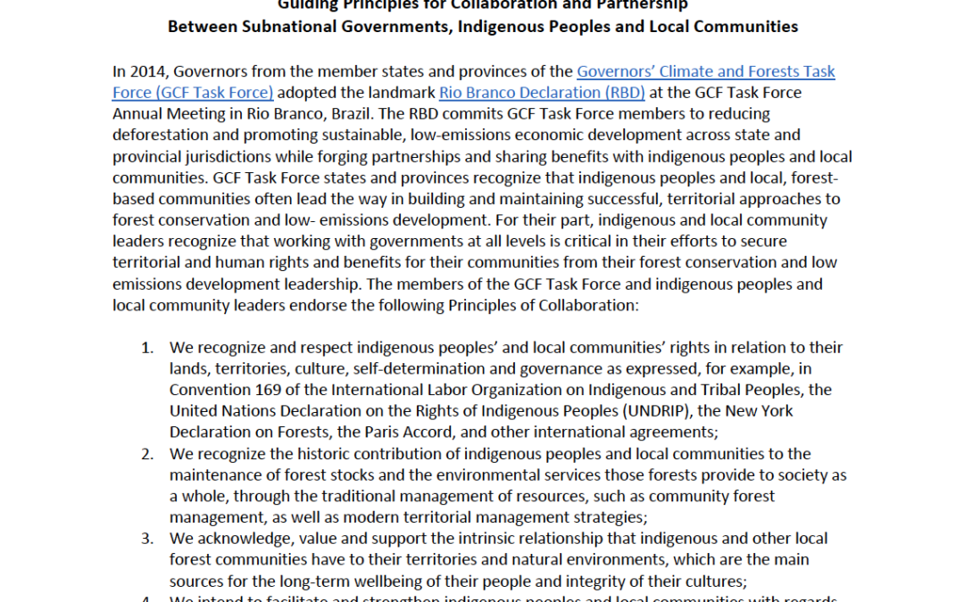 Guiding Principles for Collaboration and Partnership Between Subnational Governments, Indigenous Peoples and Local Communities